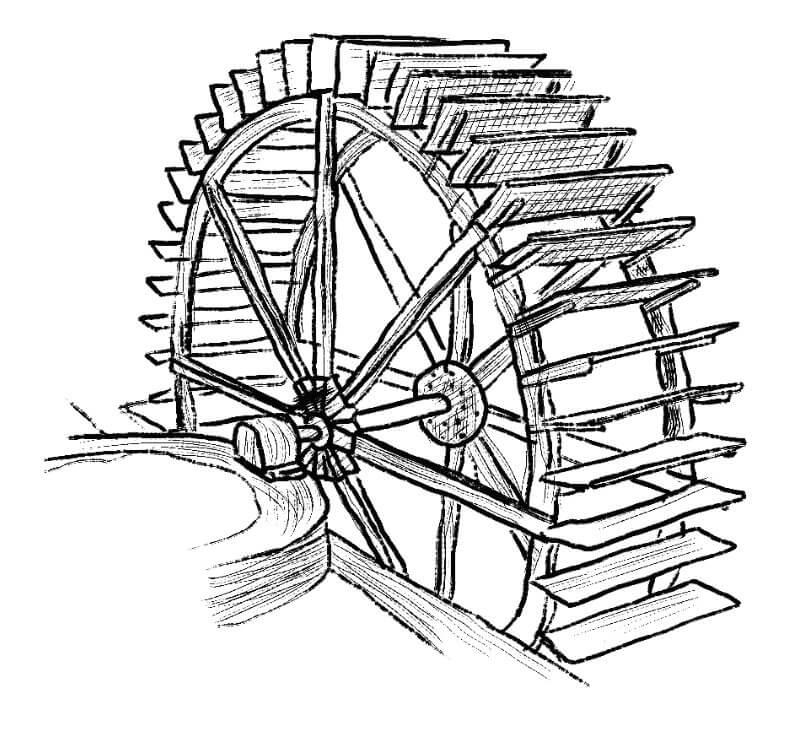 Roue du moulin a eau de Fontaine de Vaucluse